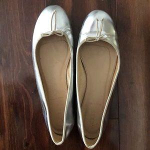J Crew silver ballet slippers.  Gently worn size 8
